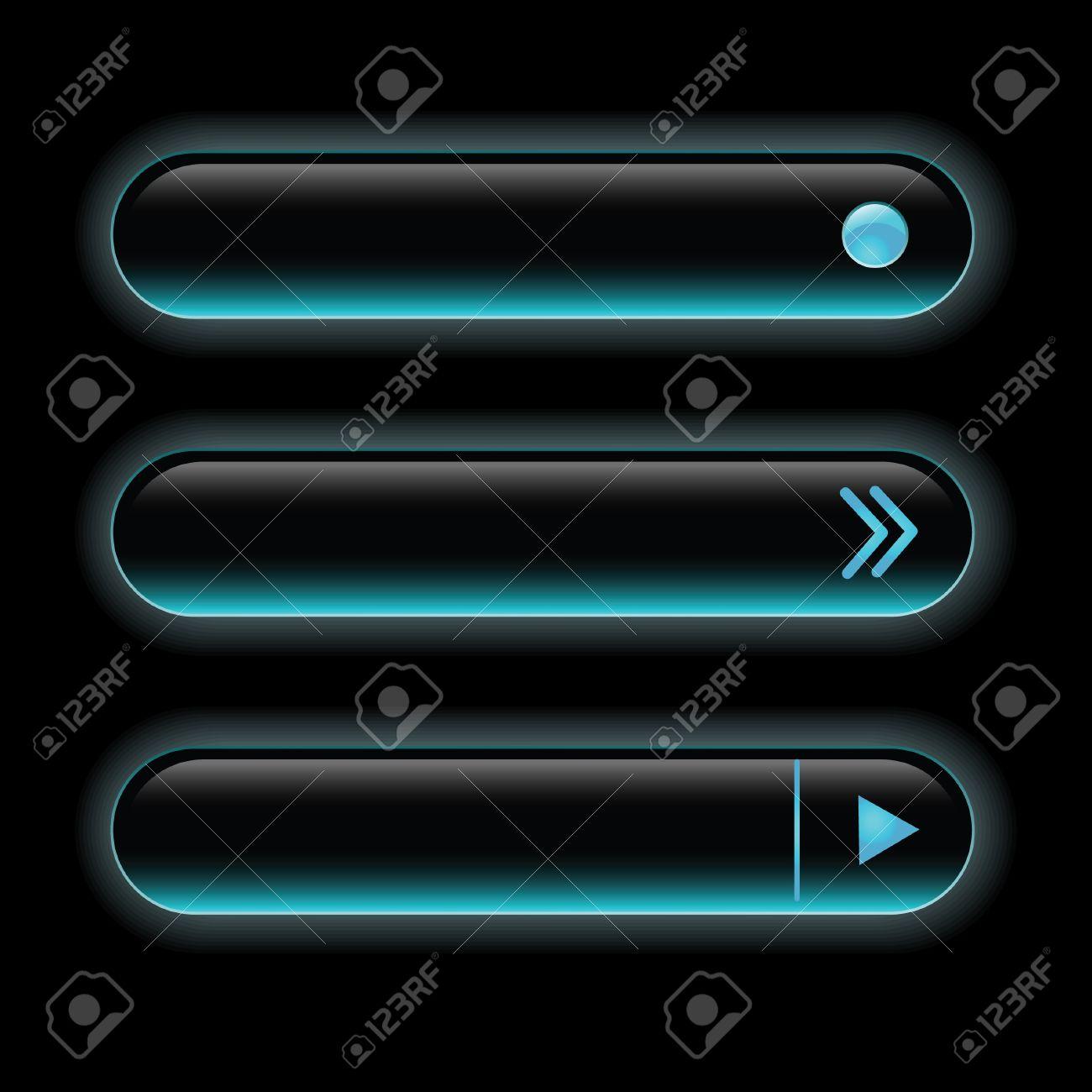 Website black buttons bars set template. Vector elements Stock Vector - 9709898