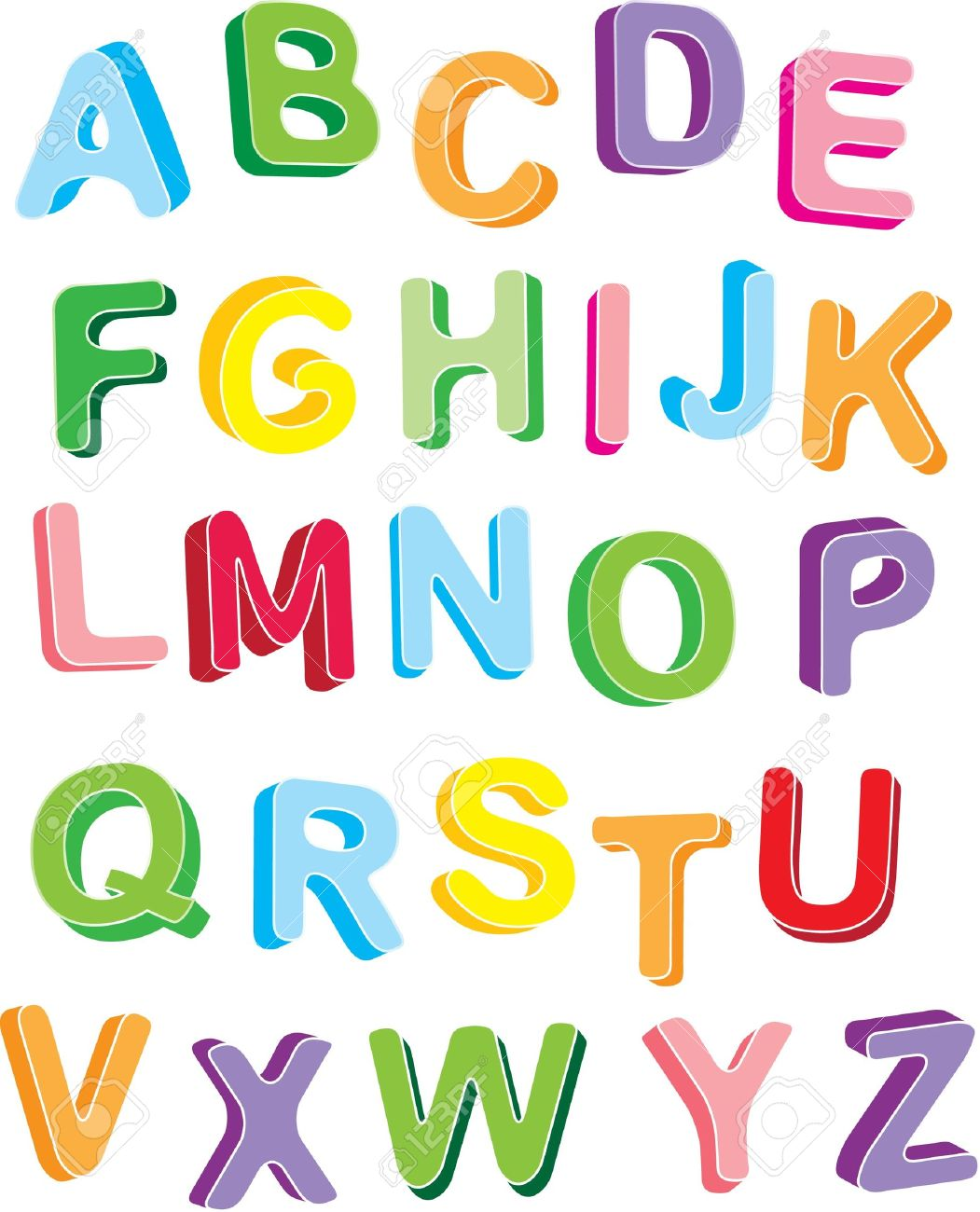 3d colorfull alphabet vector design letters set stock vector 9709901