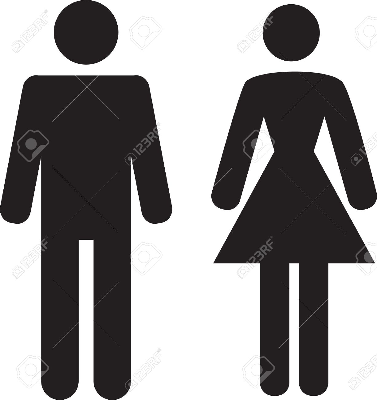 Girls bathroom sign outline - Bathroom Sign Man And Woman Icon On White Background