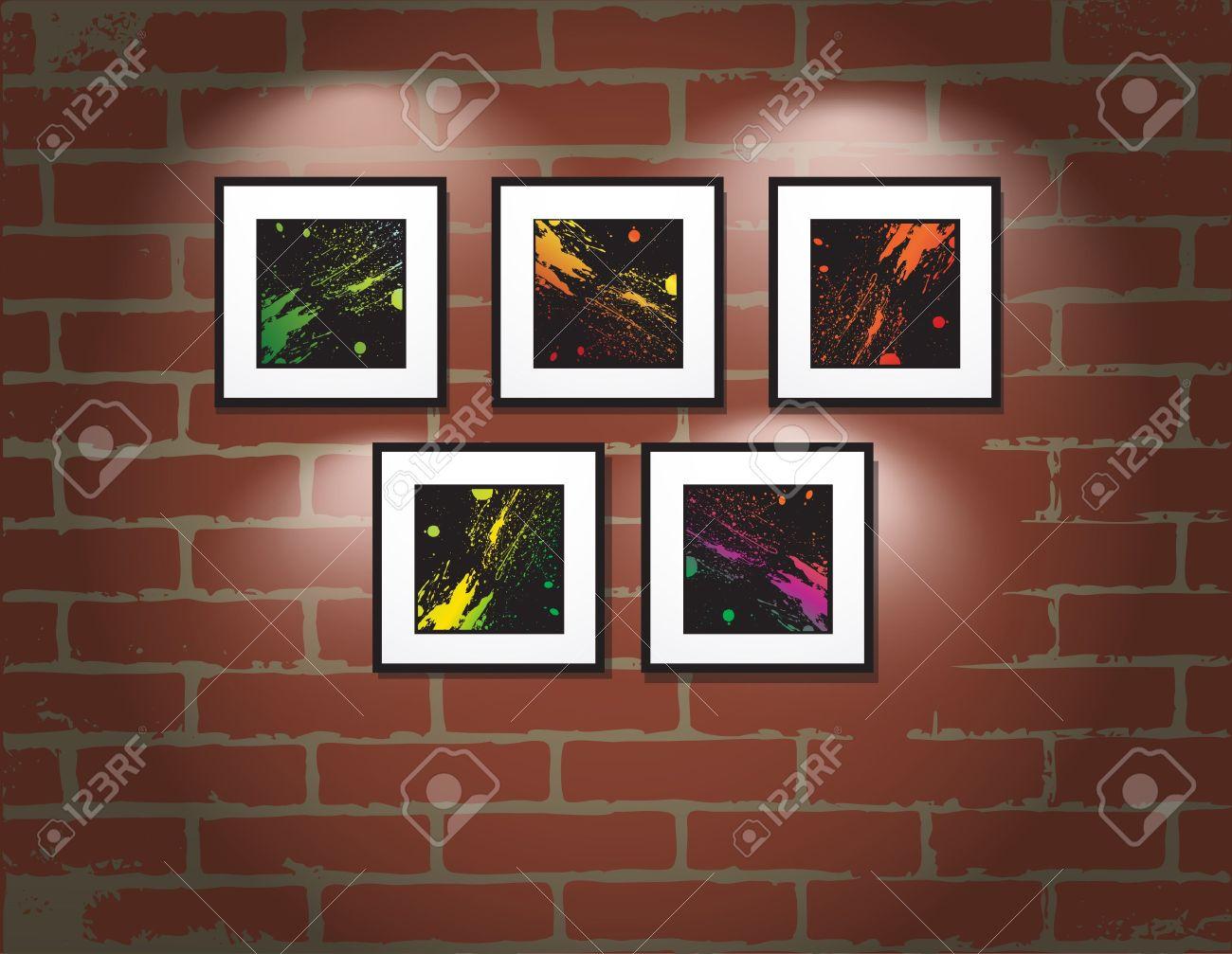 Frame On Brick Wall Art Gallery Illustration Stock Vector