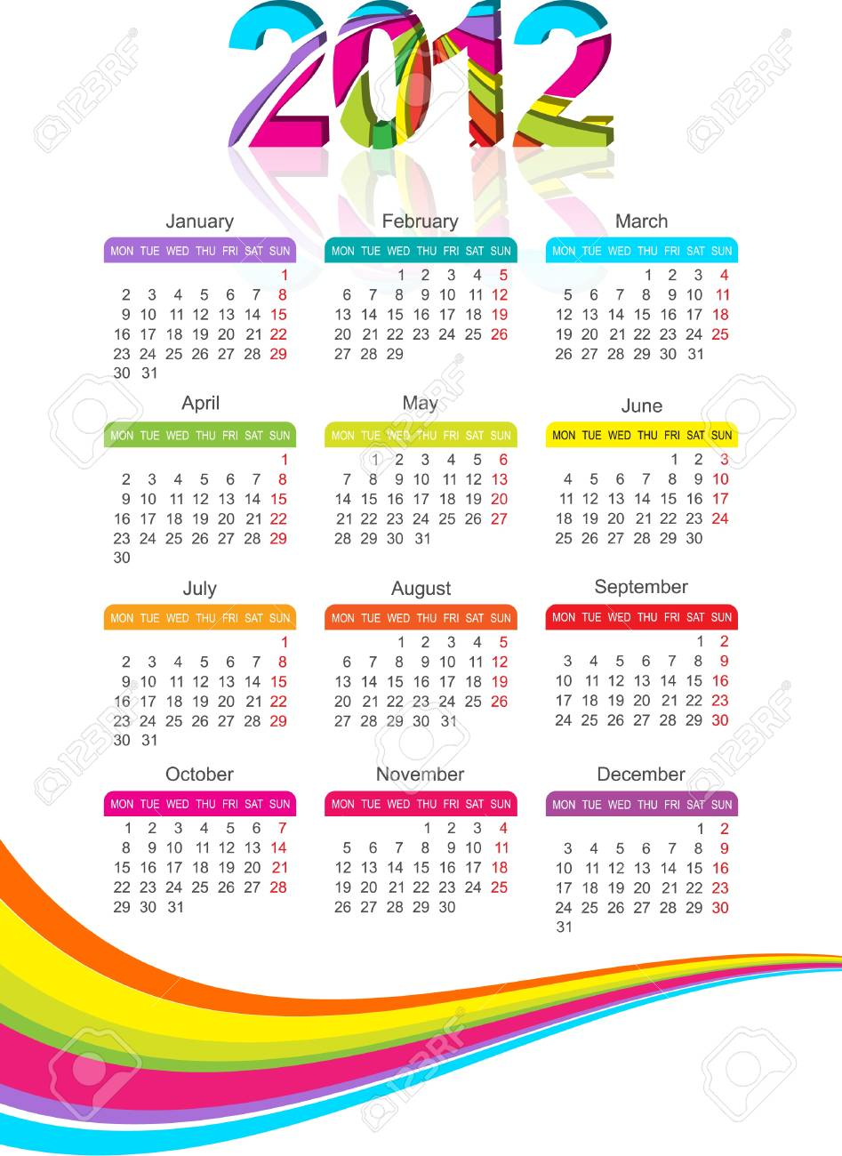 vertical calendar for 2012 year with rainbow. Vector illustration Stock Vector - 10475198