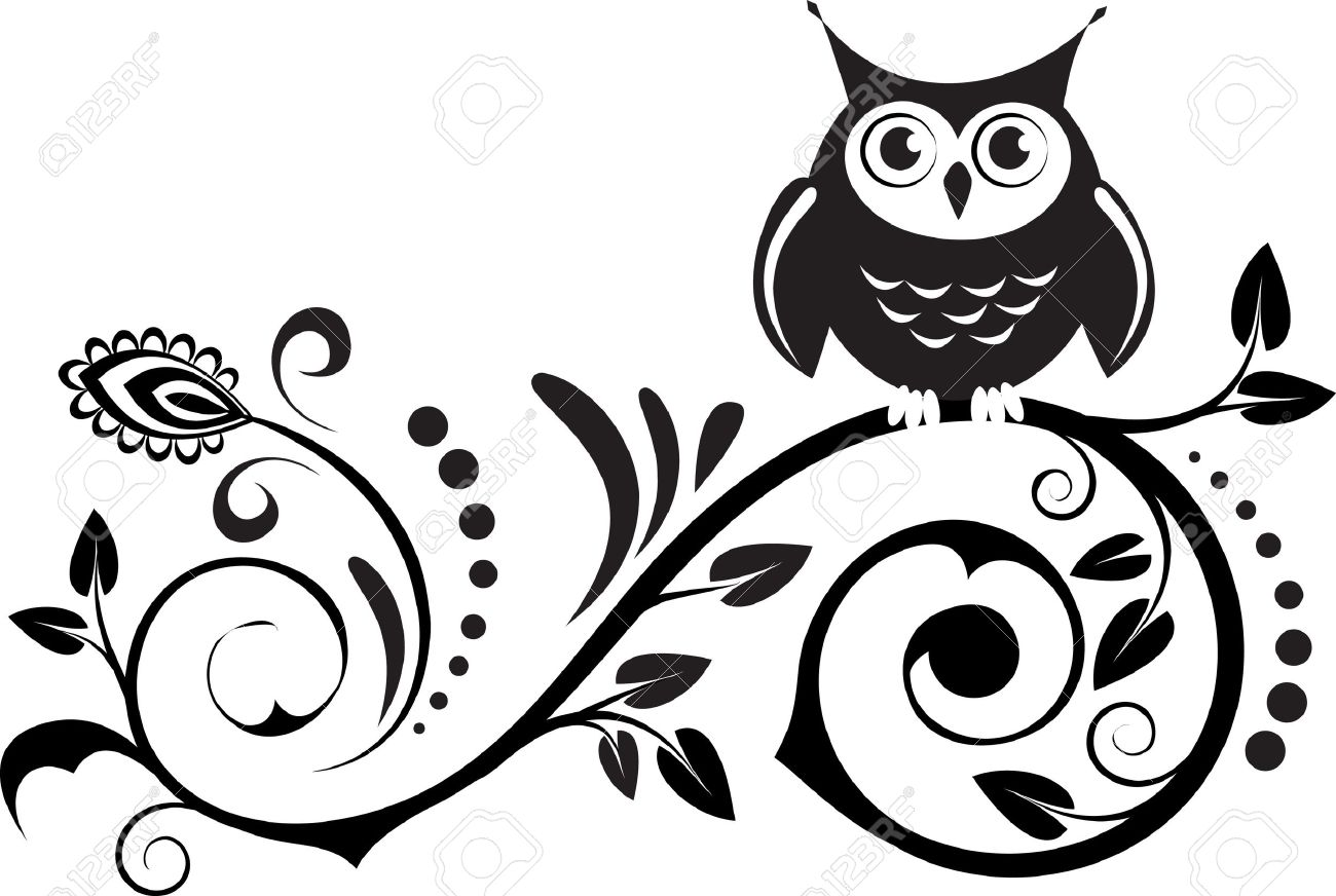 Wise owl clip art black and white