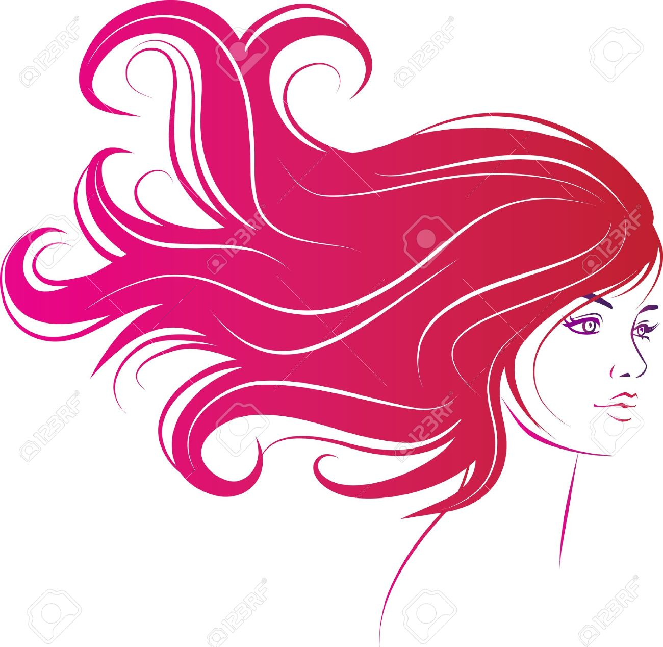 woman face with long decorative black hair Stock Vector - 10542903