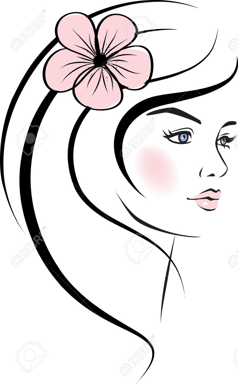 Beauty Woman Face Design Elements Stock Vector