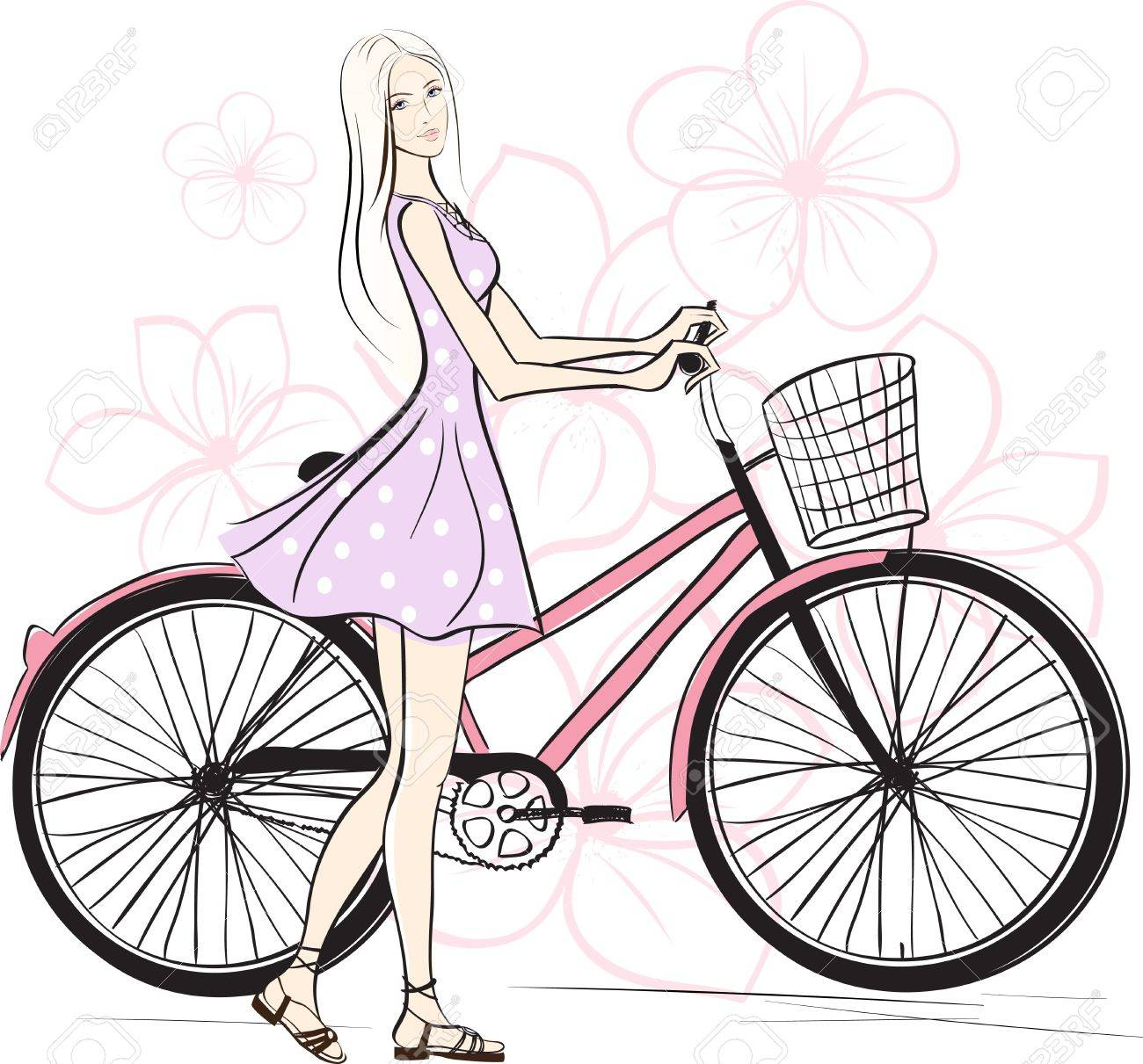 romantic Girl with bicycle. Colorful illustration Stock Vector - 10763214