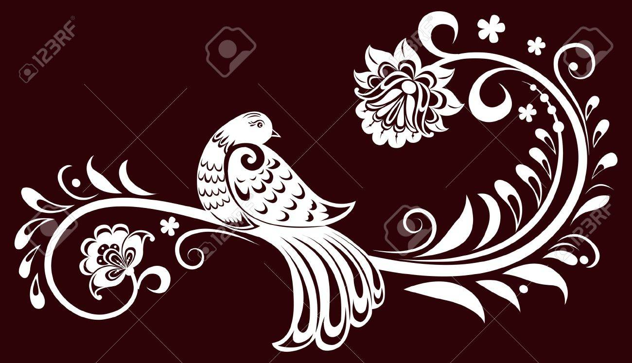 Decorative branch with a bird. decorative leaves. illustration Stock Vector - 11409807
