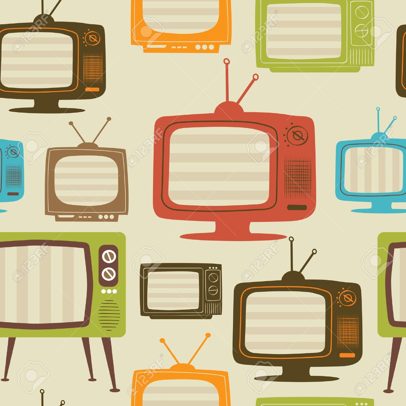 Tv retro seamless pattern. Colorful abstract vector background. - 11956600