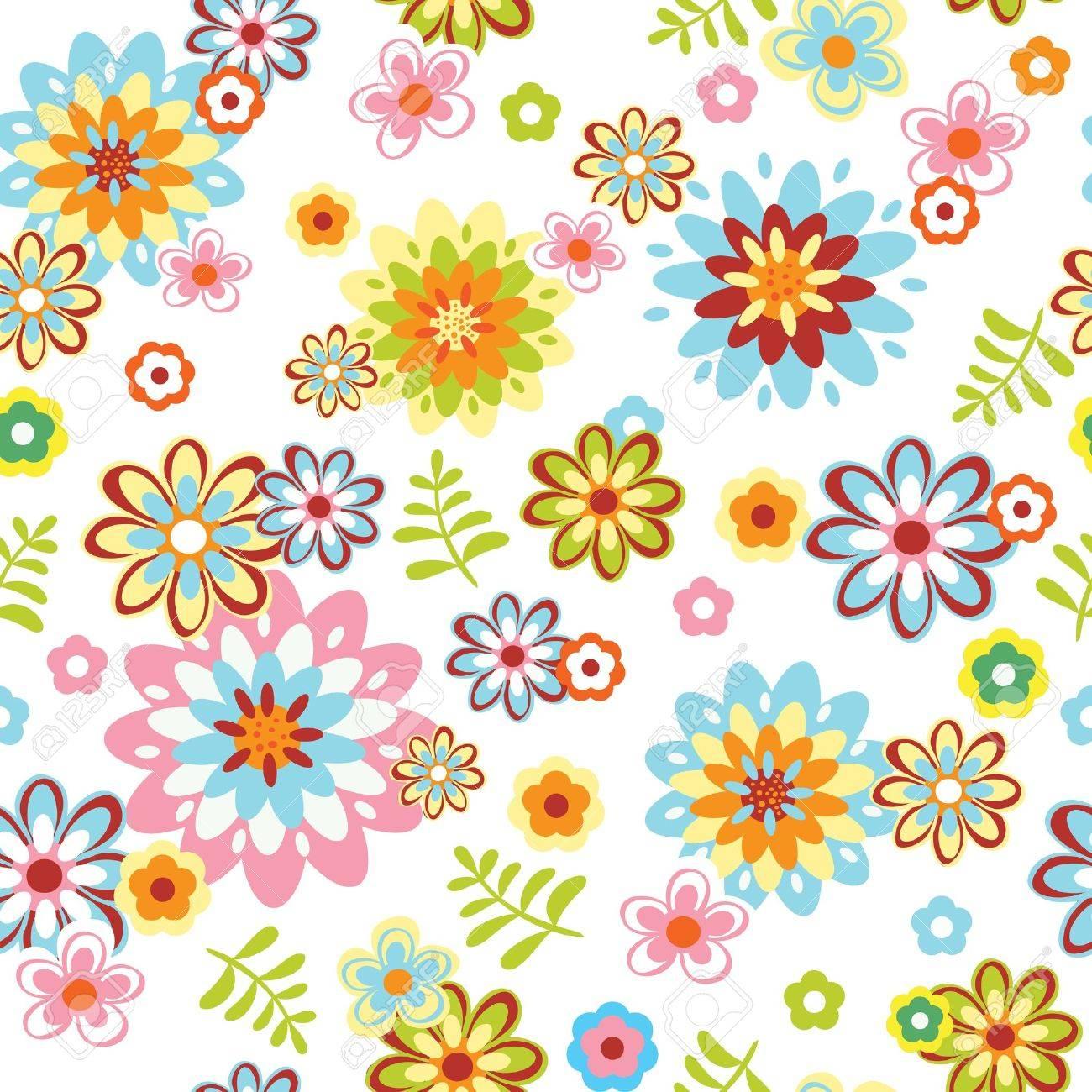 かわいい抽象的なシームレスな花柄カラフルなイラストのイラスト素材