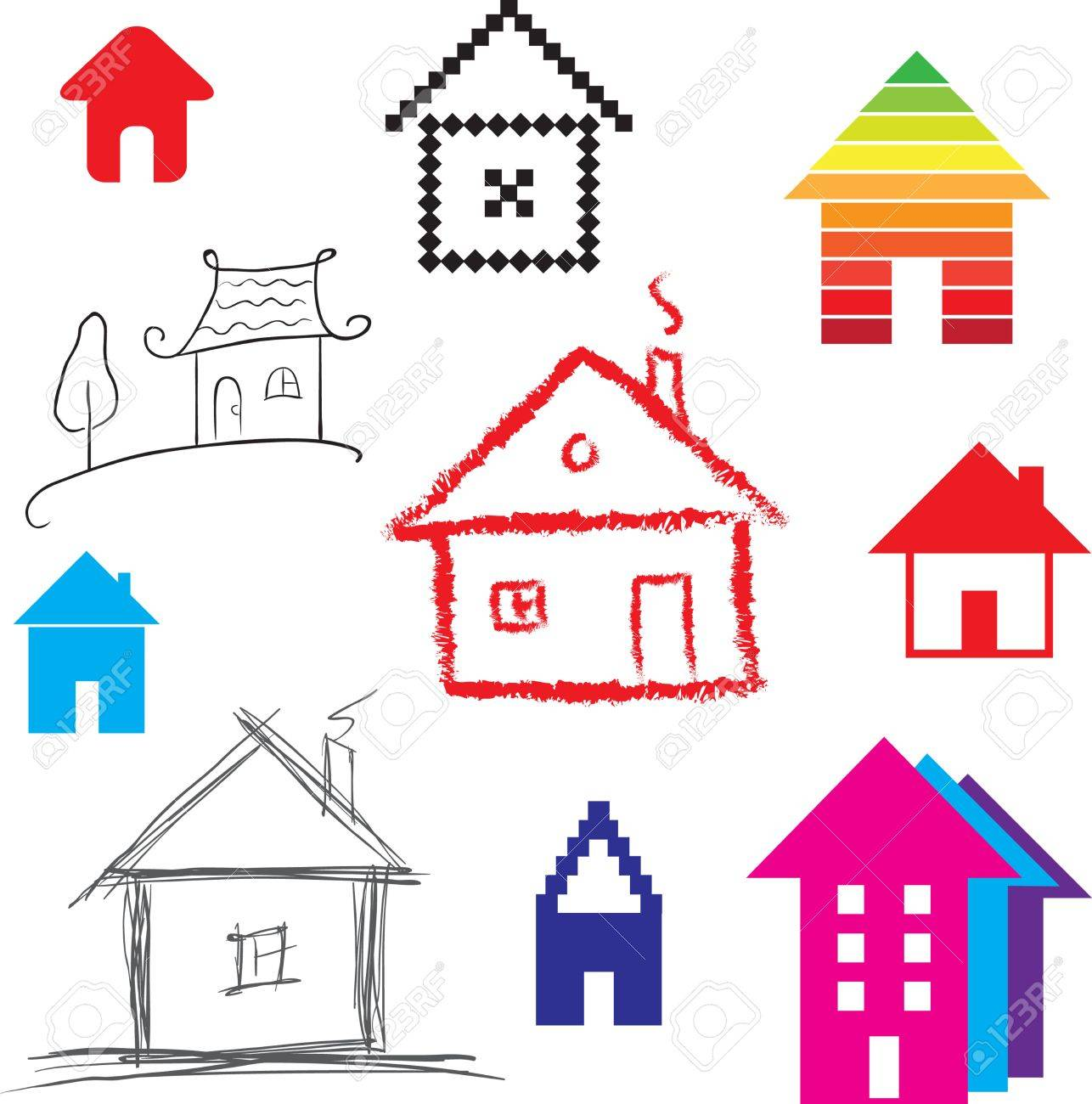 Simple stylized icon of houses  Abstract sign of real estate  illustration Stock Vector - 22285103