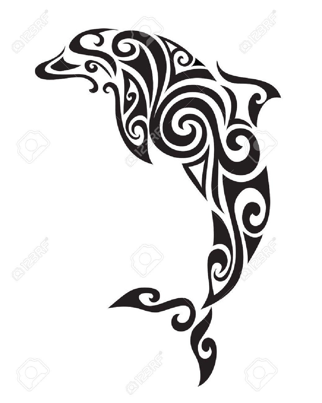 Decorative ornamental dolphin silhouette. vector illustration background. - 52442184