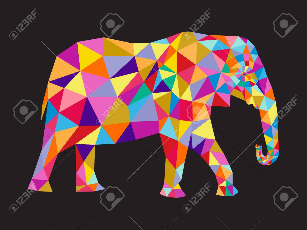 - Colorful Elephant Abstract Card. Royalty Free Cliparts, Vectors