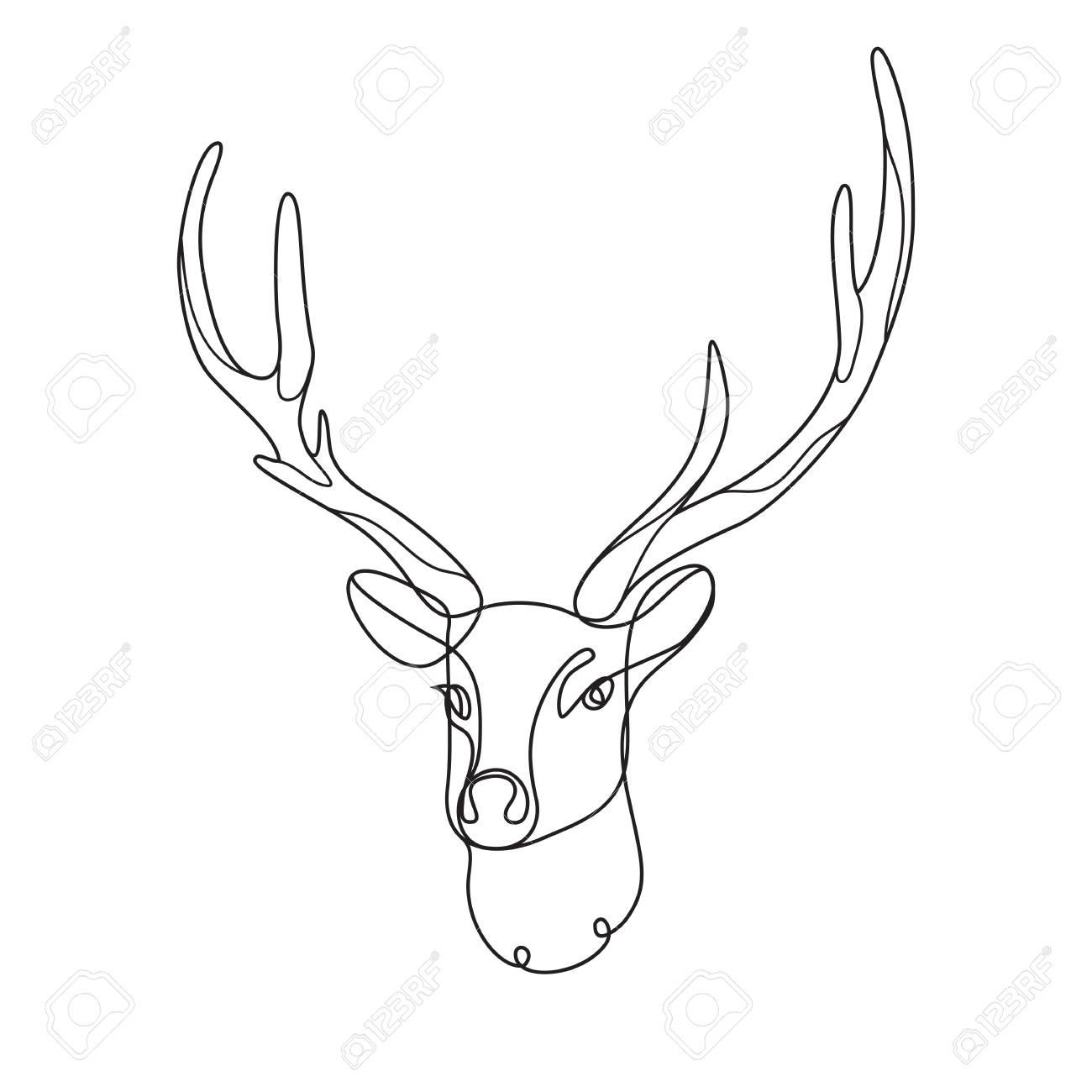 Line Art Deer Abstract Modern Decoration Vector Illustration