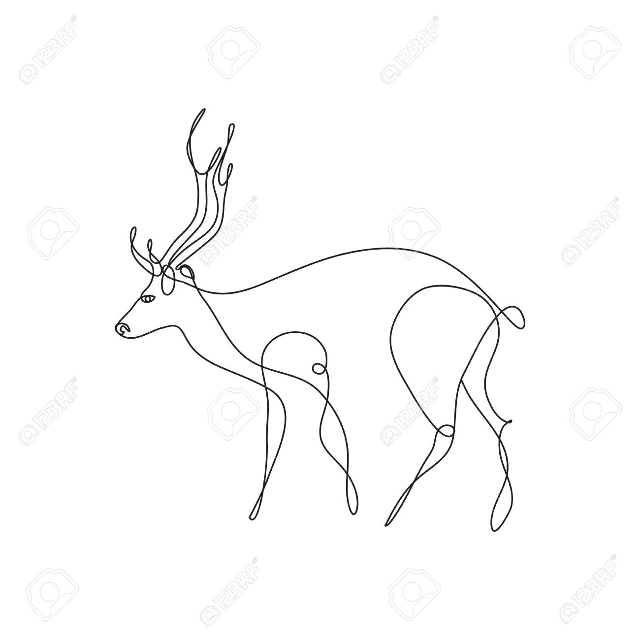 Line Art Deer Abstract Modern Decoration Vector Illustration Royalty Free Cliparts Vectors And Stock Illustration Image 88356206