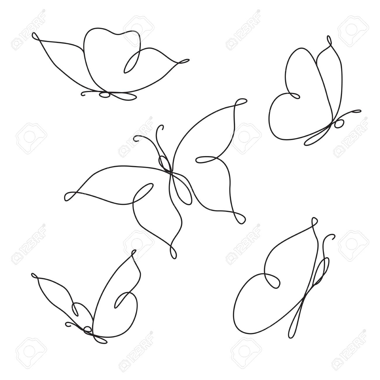 Line art butterfly abstract modern decoration vector illustration one line drawing fancy