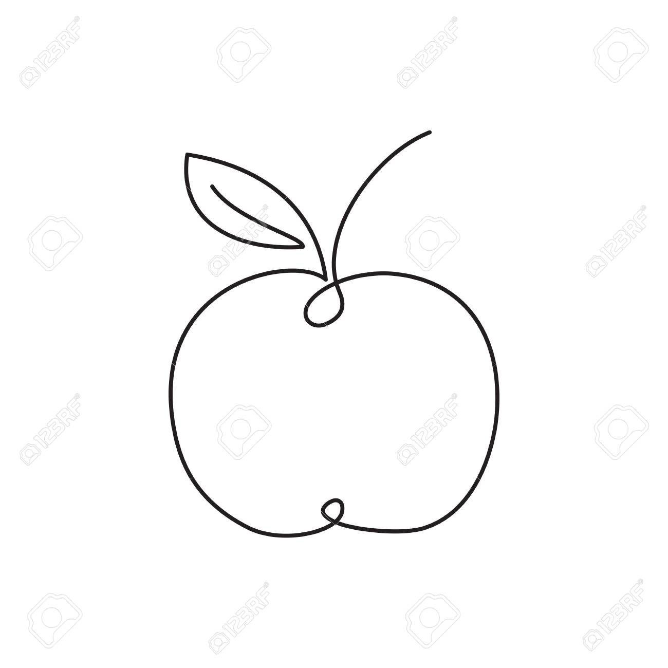 Apple Icon Single Line Drawing Art Royalty Free Cliparts Vectors And Stock Illustration Image 99074757