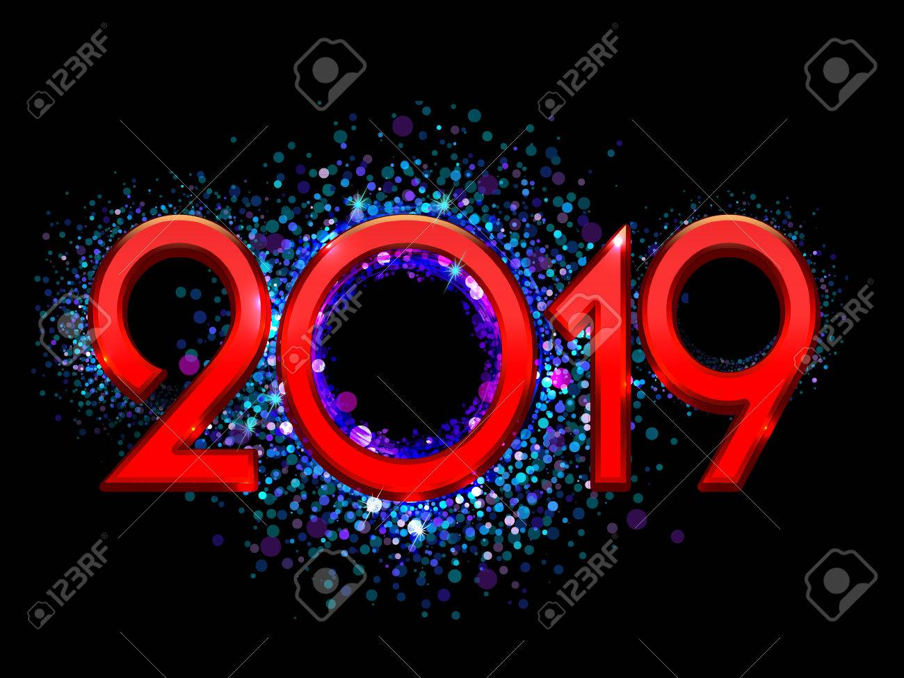 2019 Happy New Year bright red text on a black background