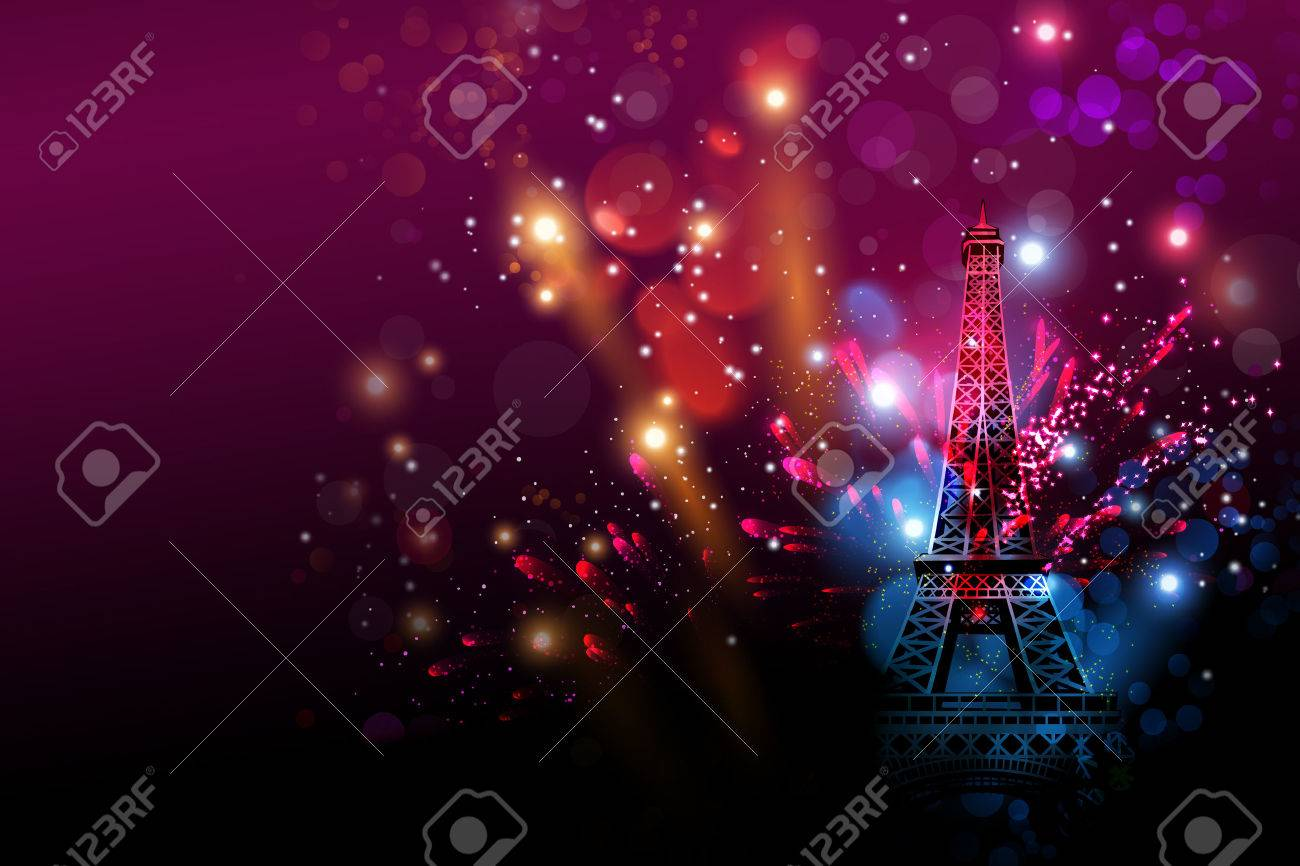 happy new year fireworks paris with eiffel tower or france day celebration stock photo 62326109
