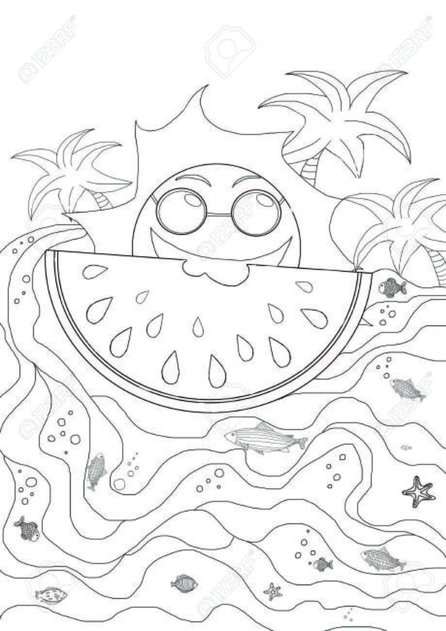 Drawing Plates For Kids With Sun And Waves Summer Holiday Atmosphere Stock Photo