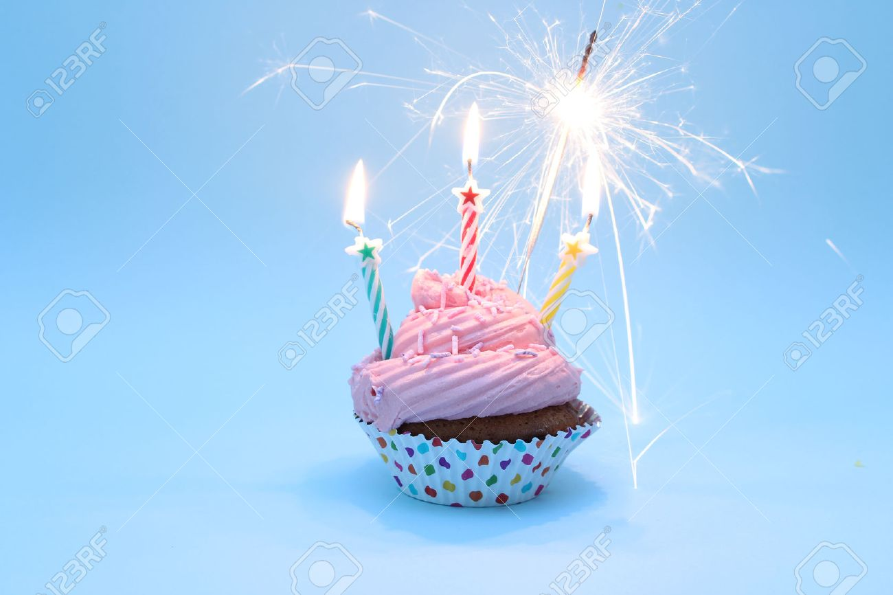Happy Birthday Cupcake With Sparklers Stock Photo Picture And