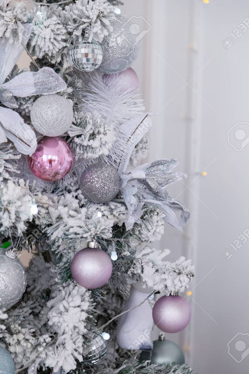 Beautiful Silver Christmas Tree With Decorations New Year 2020 Stock Photo Picture And Royalty Free Image Image 133209887