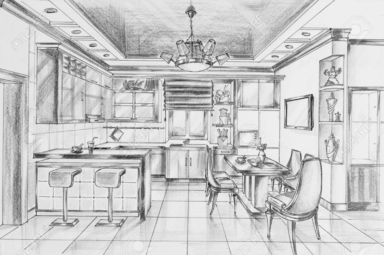 Dibujo A Lápiz Con La Mano Interior Del Comedor Fotos Retratos
