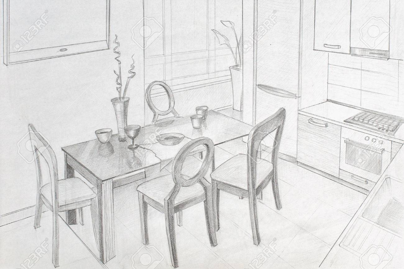 Freehand drawing pencil interior dining area in the kitchen stock photo 44006624