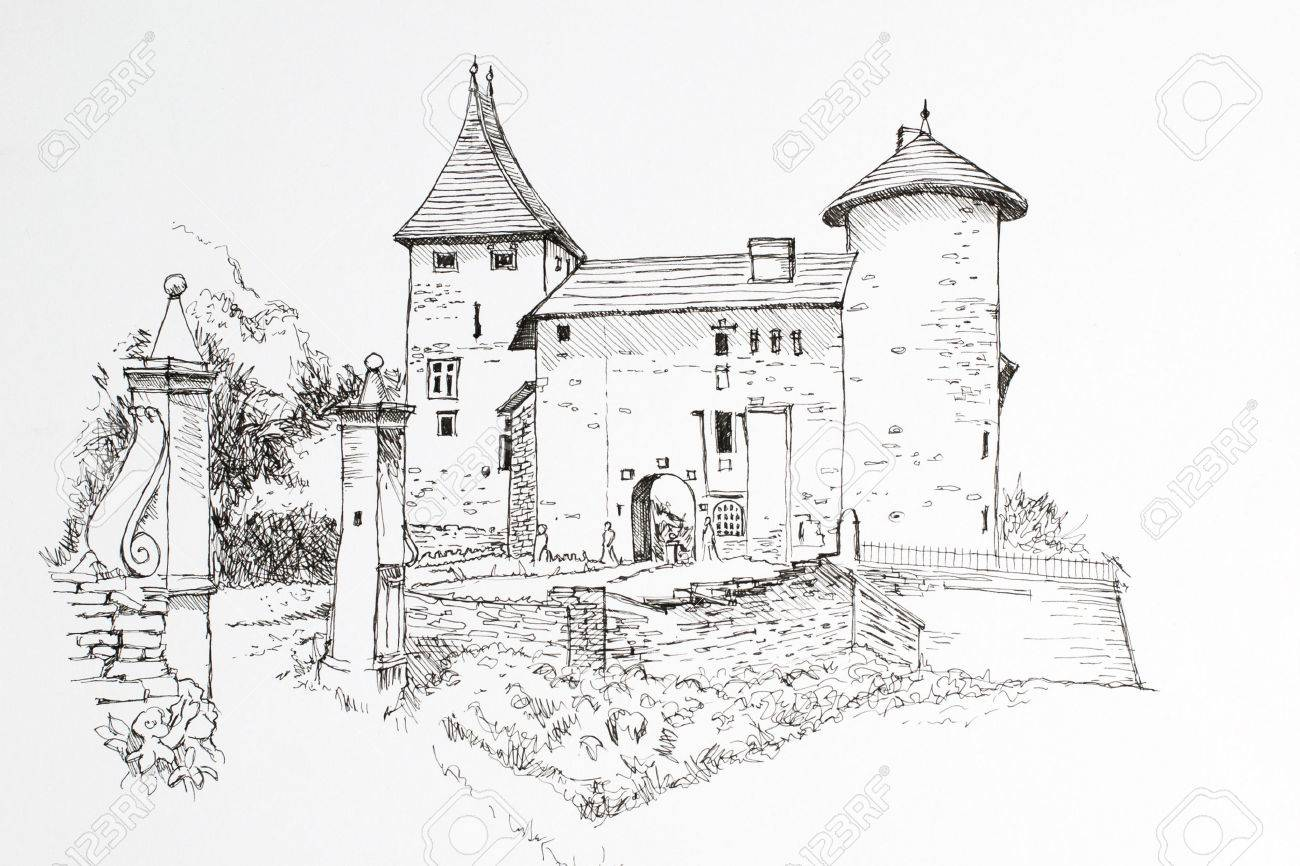 freehand drawing castle ink black and white image stock photo 44007558