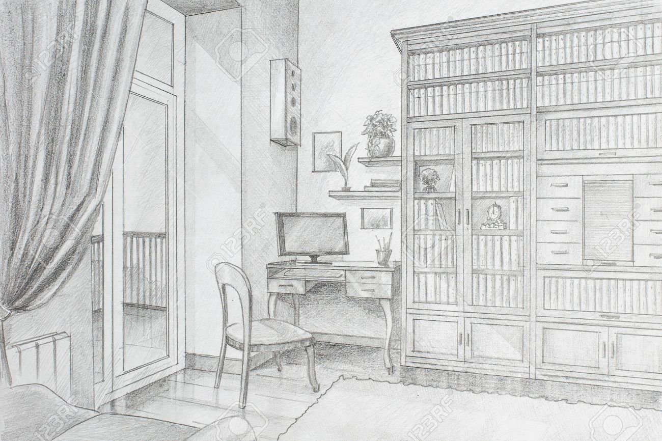 Freehand Drawing Pencil Interior Library In A Private House Stock Photo