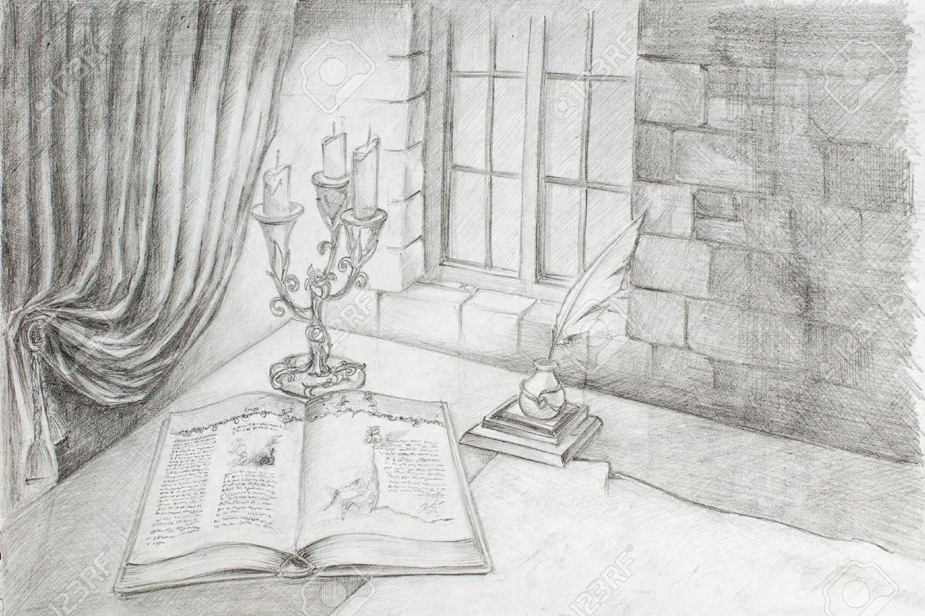 Fenster bleistiftzeichnung  Bleistiftzeichnung Aus Der Hand Von Einem Alten Buch, Das Auf Dem ...