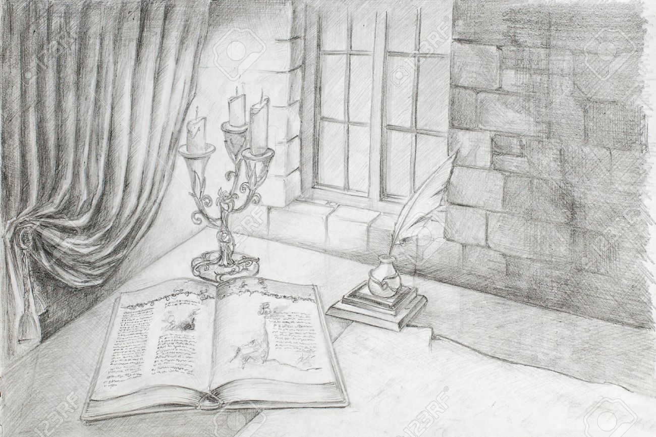 window pencil drawing. pencil drawing from the hand of an ancient book, which is on table in window