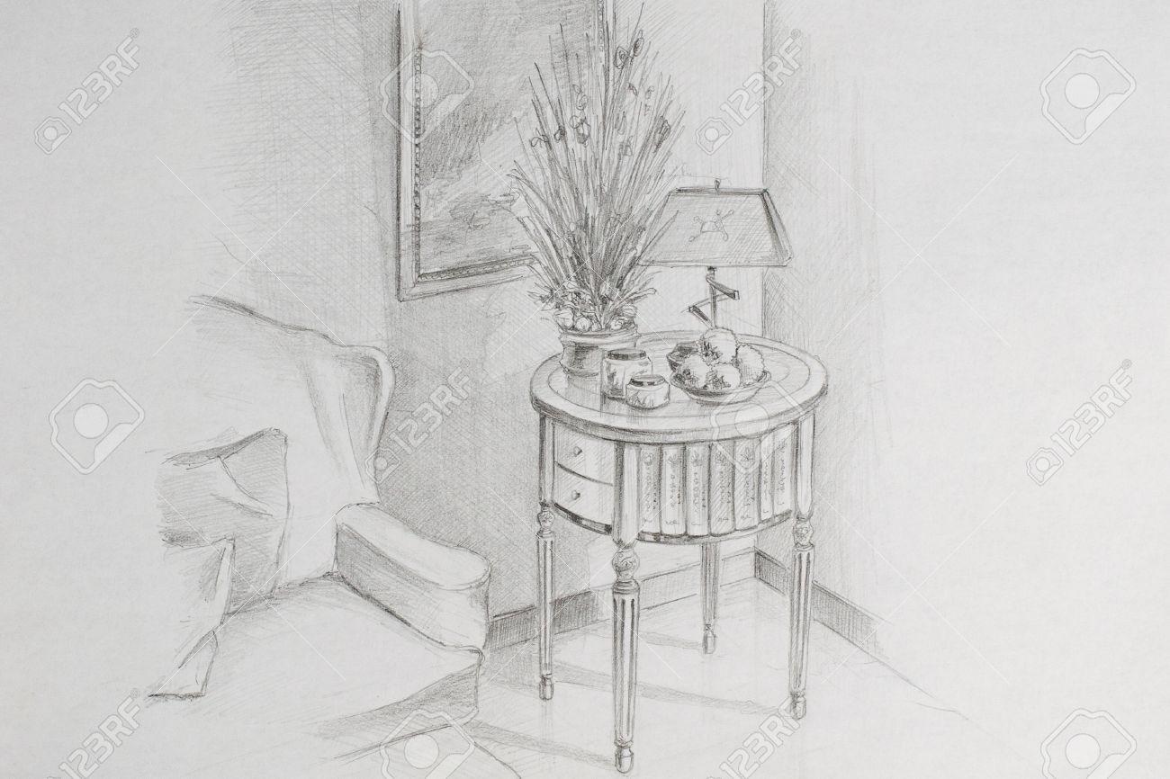 Pencil drawing room corner stock photo 44009382