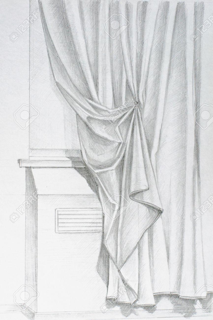 Fenster bleistiftzeichnung  Bleistiftzeichnung Von Hand Auf Der Fenstervorhänge Lizenzfreie ...
