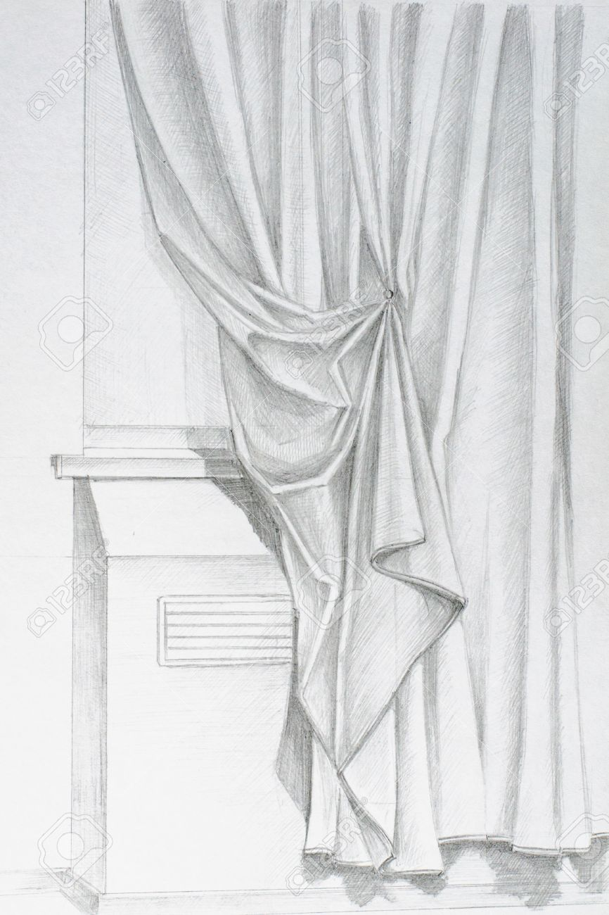 Pencil Drawing By Hand On The Window Curtains Stock Photo, Picture ... for Window With Curtains Drawing  49jwn