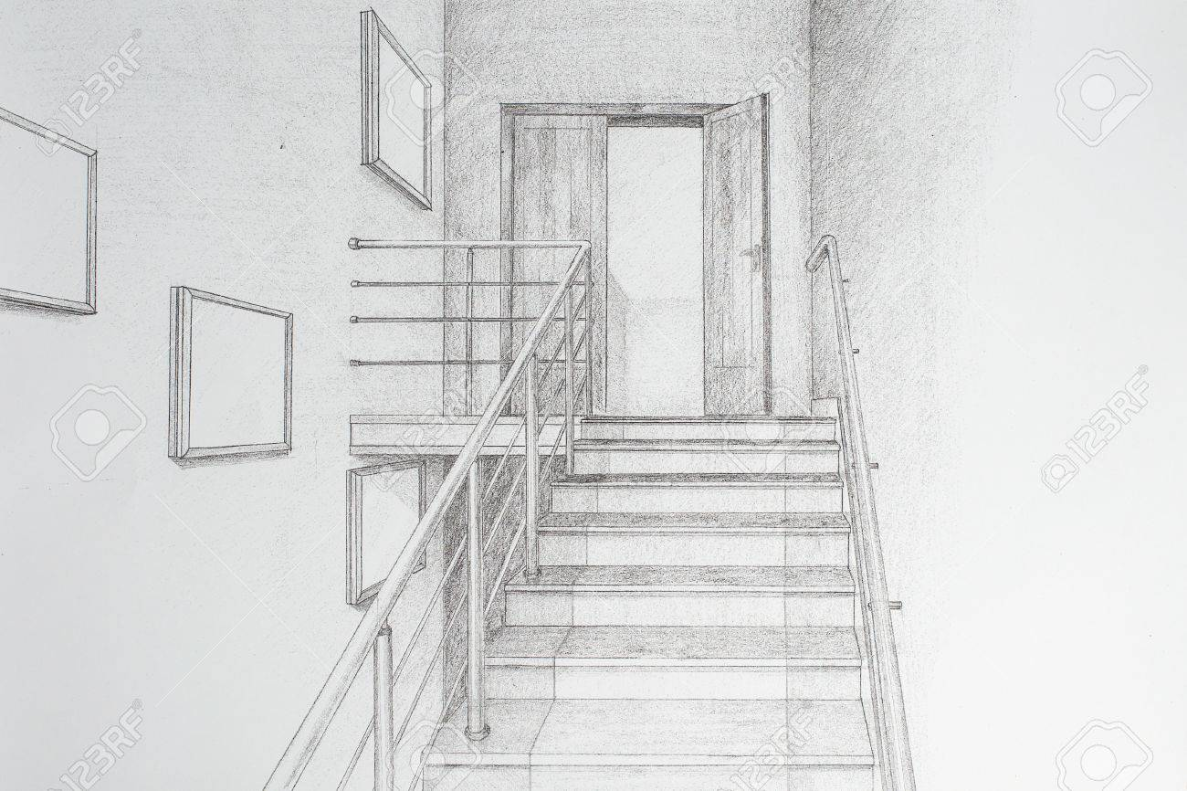 Freehand drawing pencil interior hall with stairs