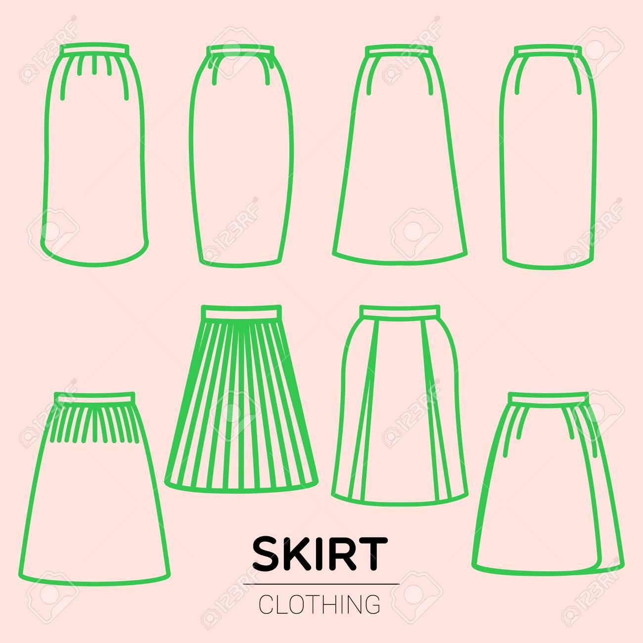 2d724ae4b Las colecciones de faldas simples clásicas estándar se ilustran en dibujo  lineal simple. muchos tipos de estilos faldas para las mujeres.