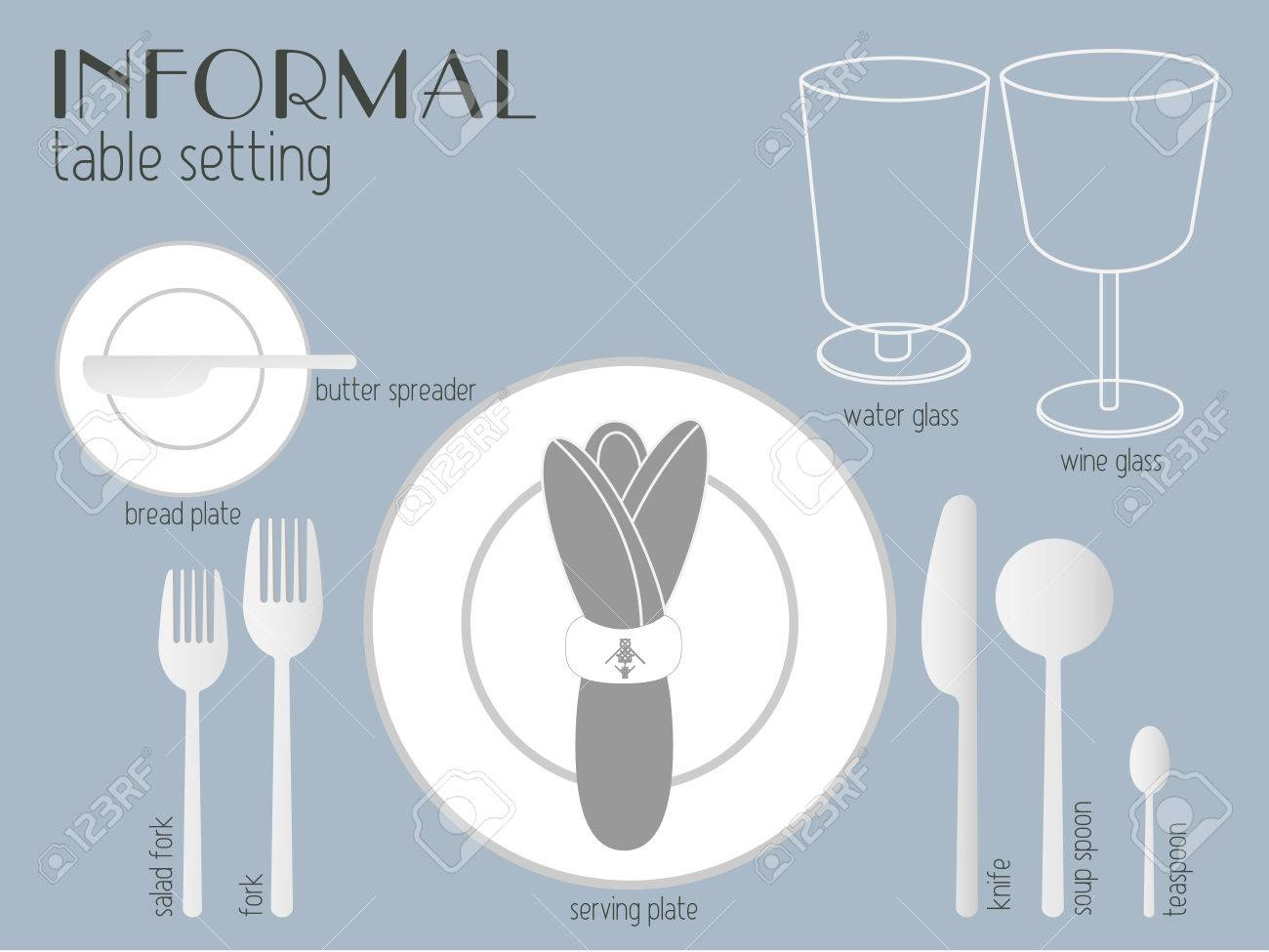 Vector - white and clear tableware and eating utensils are set at the table for serving. Simply style place setting or table setting or laying a table) are ...  sc 1 st  123RF.com & White And Clear Tableware And Eating Utensils Are Set At The ...