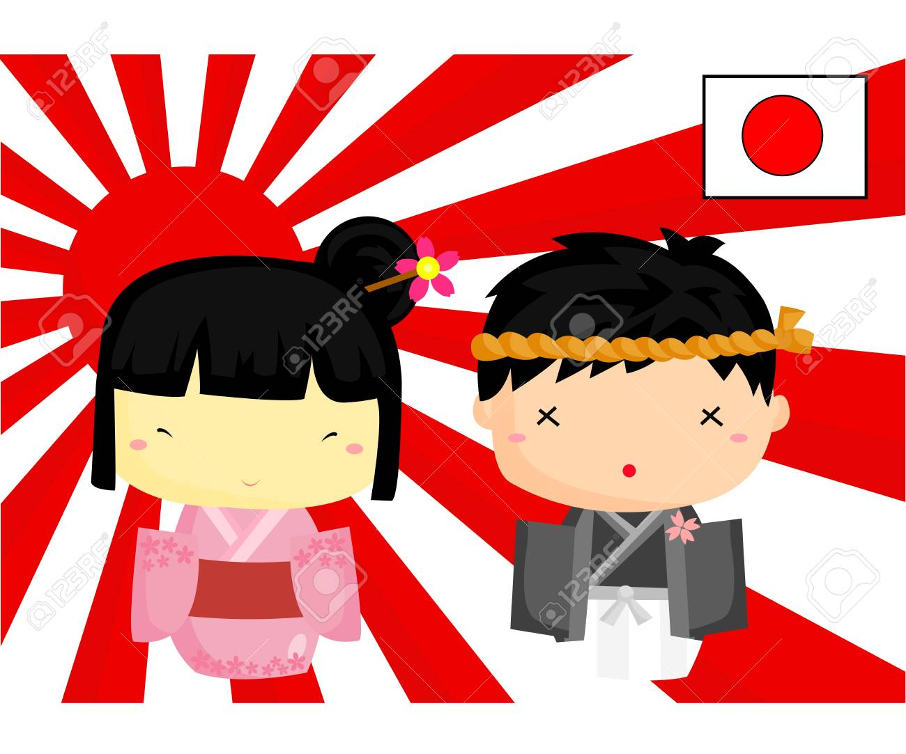 Japan Culture and Flag Stock Vector - 18357188