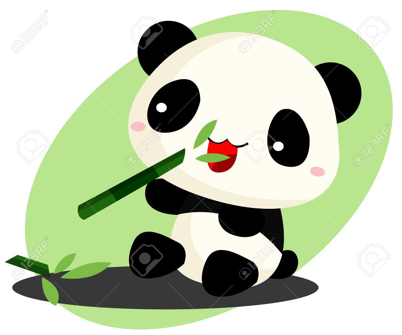 Panda Eating Bamboo Royalty Free Cliparts Vectors And Stock