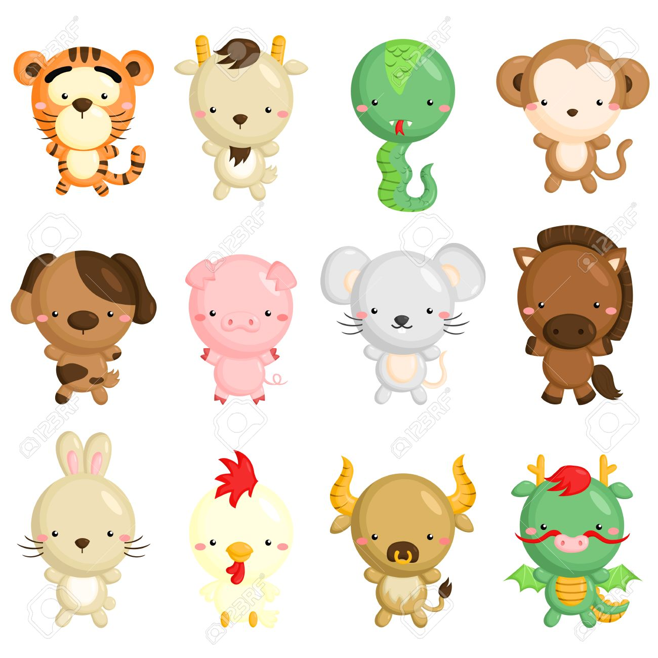 Chinese Zodiac Animals Royalty Free Cliparts, Vectors, And Stock ...