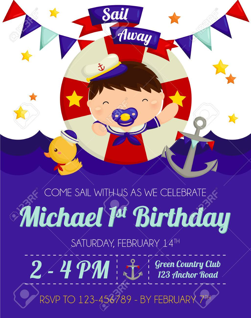 Nautical Boy Birthday Invitation Stock Vector