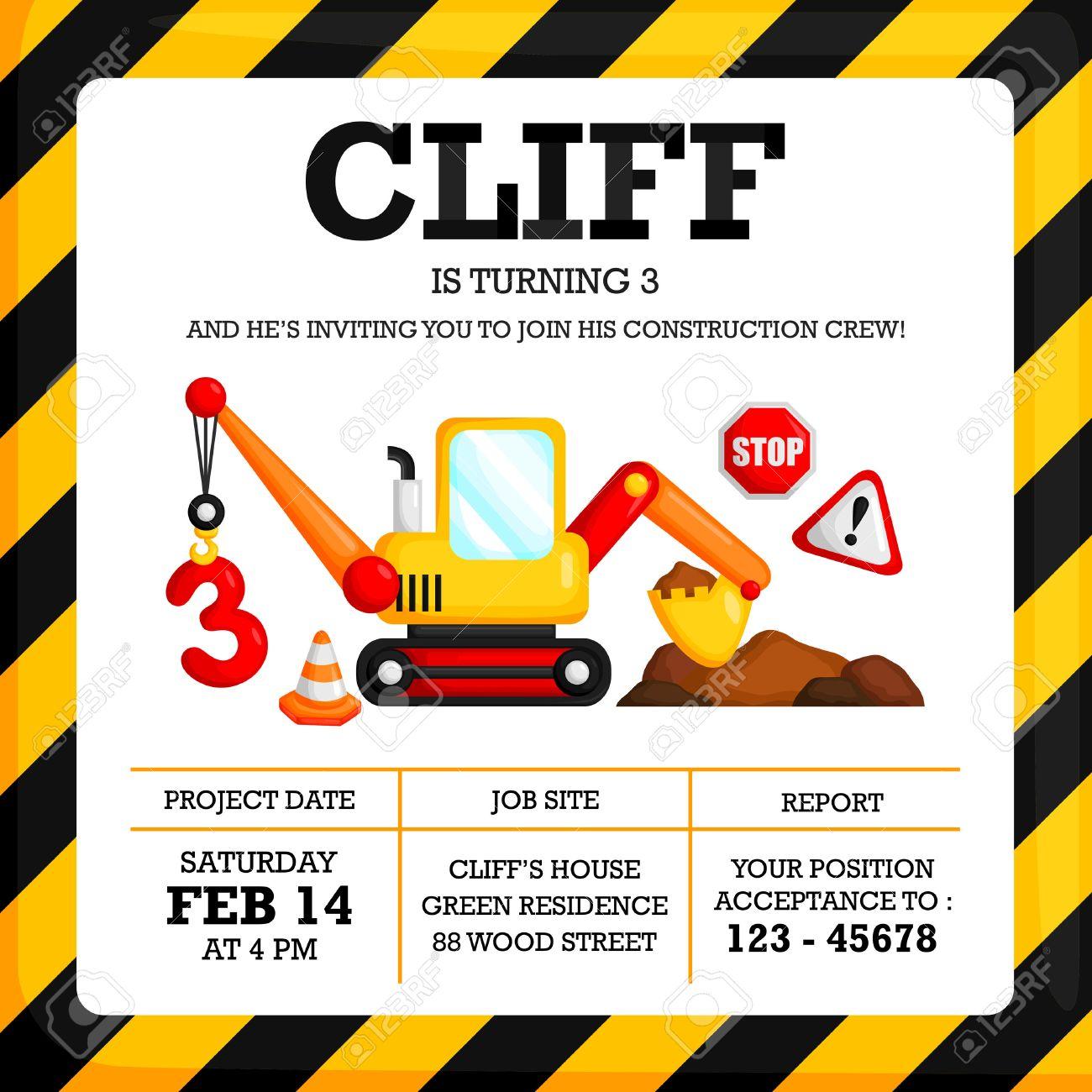 construction birthday invitation royalty free cliparts vectors and