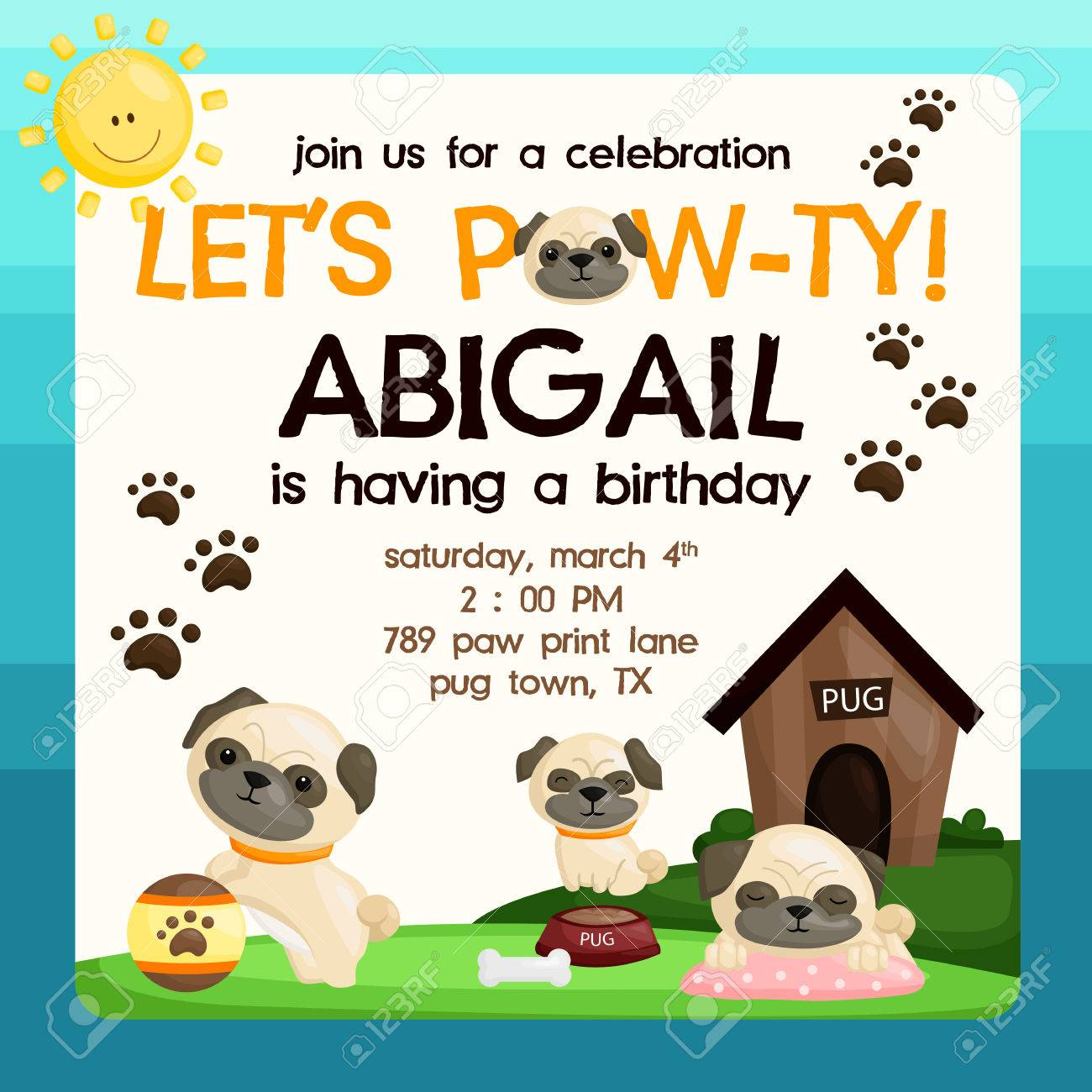 Pug Birthday Invitation Royalty Free Cliparts Vectors And Stock