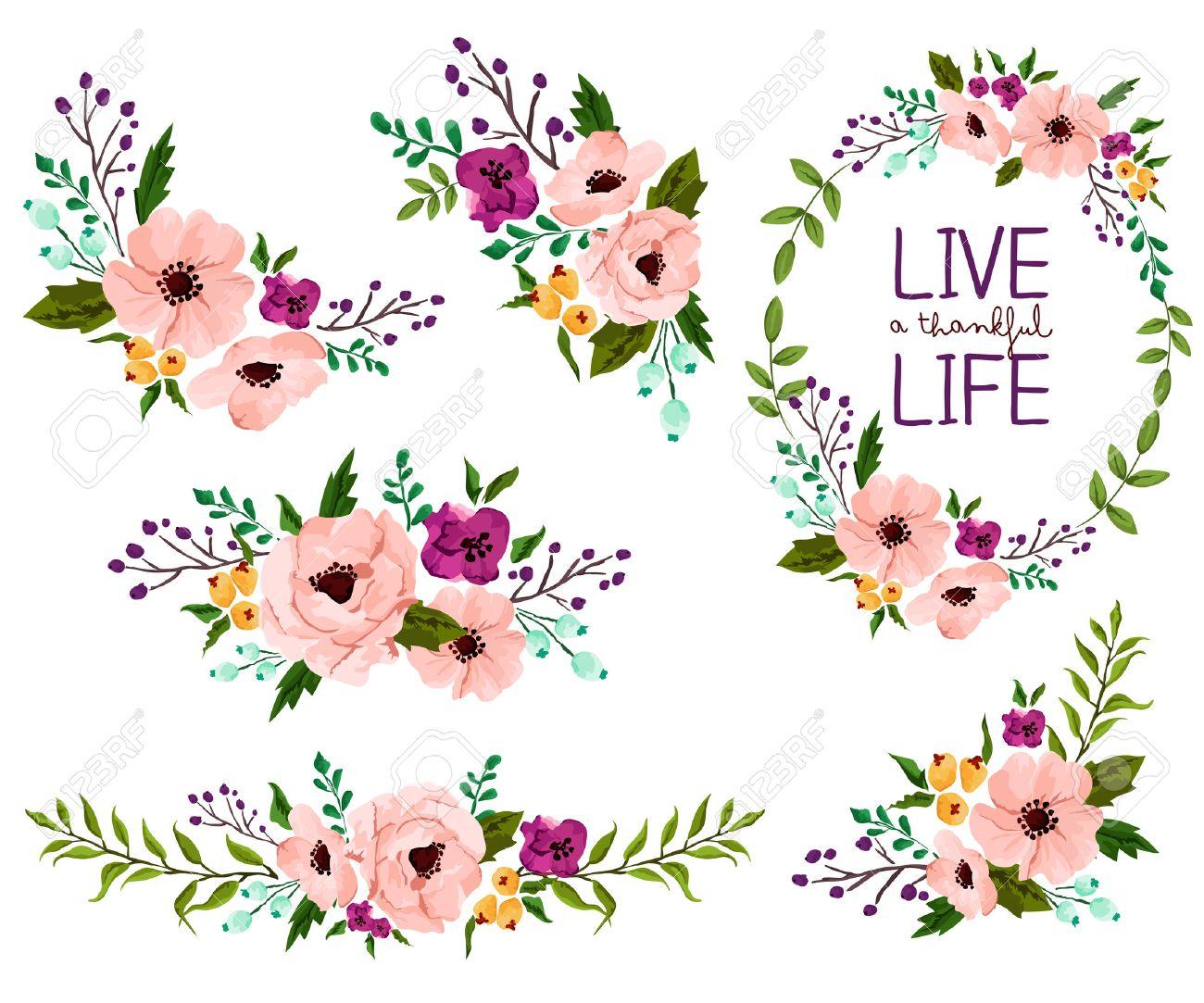 Flower Watercolor Vector Set - 37037442