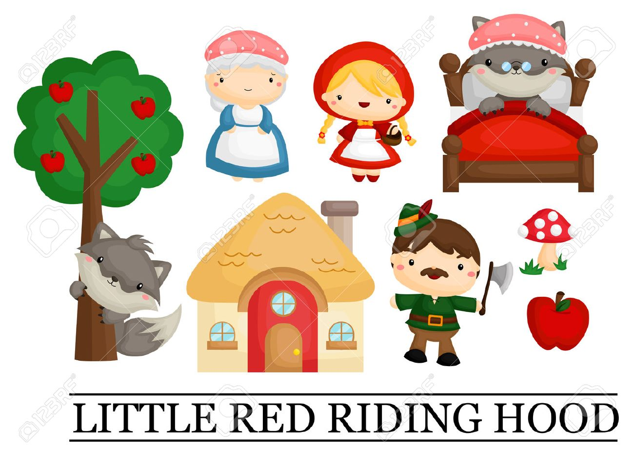 little red riding hood royalty free cliparts vectors and stock rh 123rf com little red riding hood characters clipart little red riding hood wolf clipart