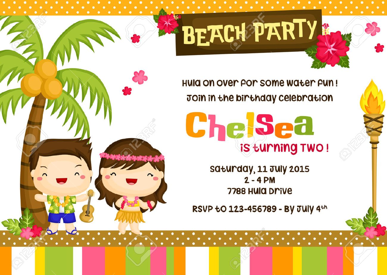 Hawaii Luau Birthday Invitation Card Royalty Free Cliparts