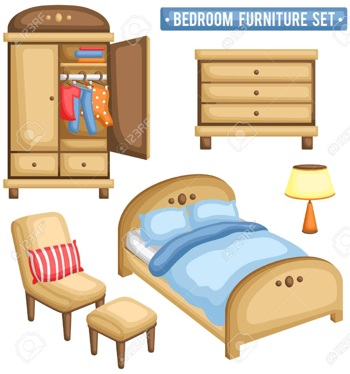 Bedroom Furniture Set Royalty Free Cliparts Vectors And Stock