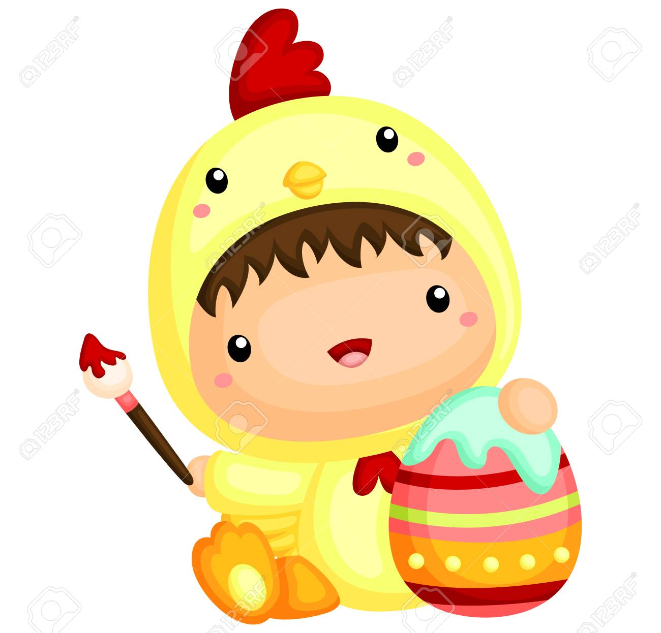 Cute Boy in Chicken Costume Painting Easter Egg Stock Vector - 52537489  sc 1 st  123RF.com & Cute Boy In Chicken Costume Painting Easter Egg Royalty Free ...