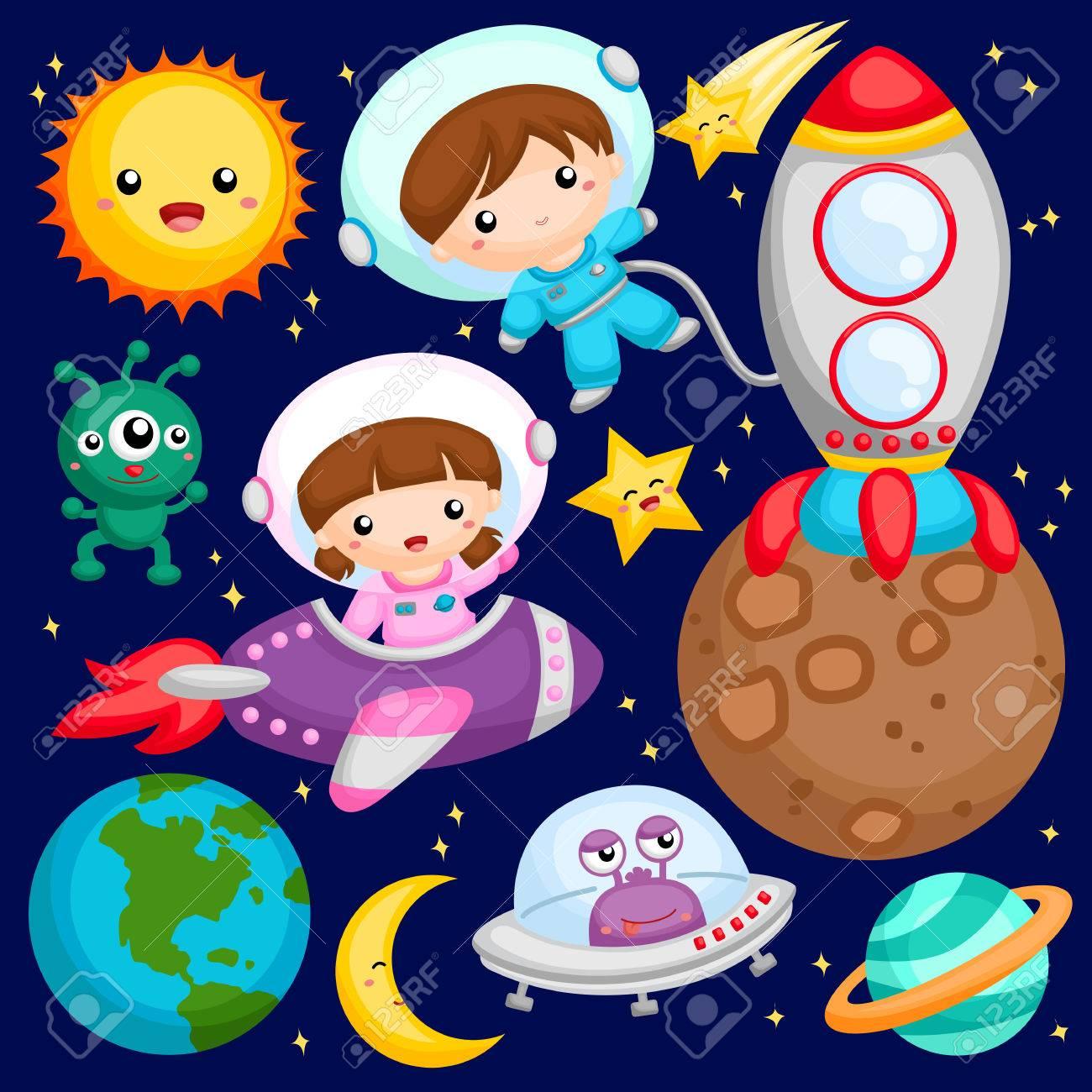 Niños En El Espacio Exterior Ilustraciones Vectoriales Clip Art Vectorizado Libre De Derechos Image 53926636