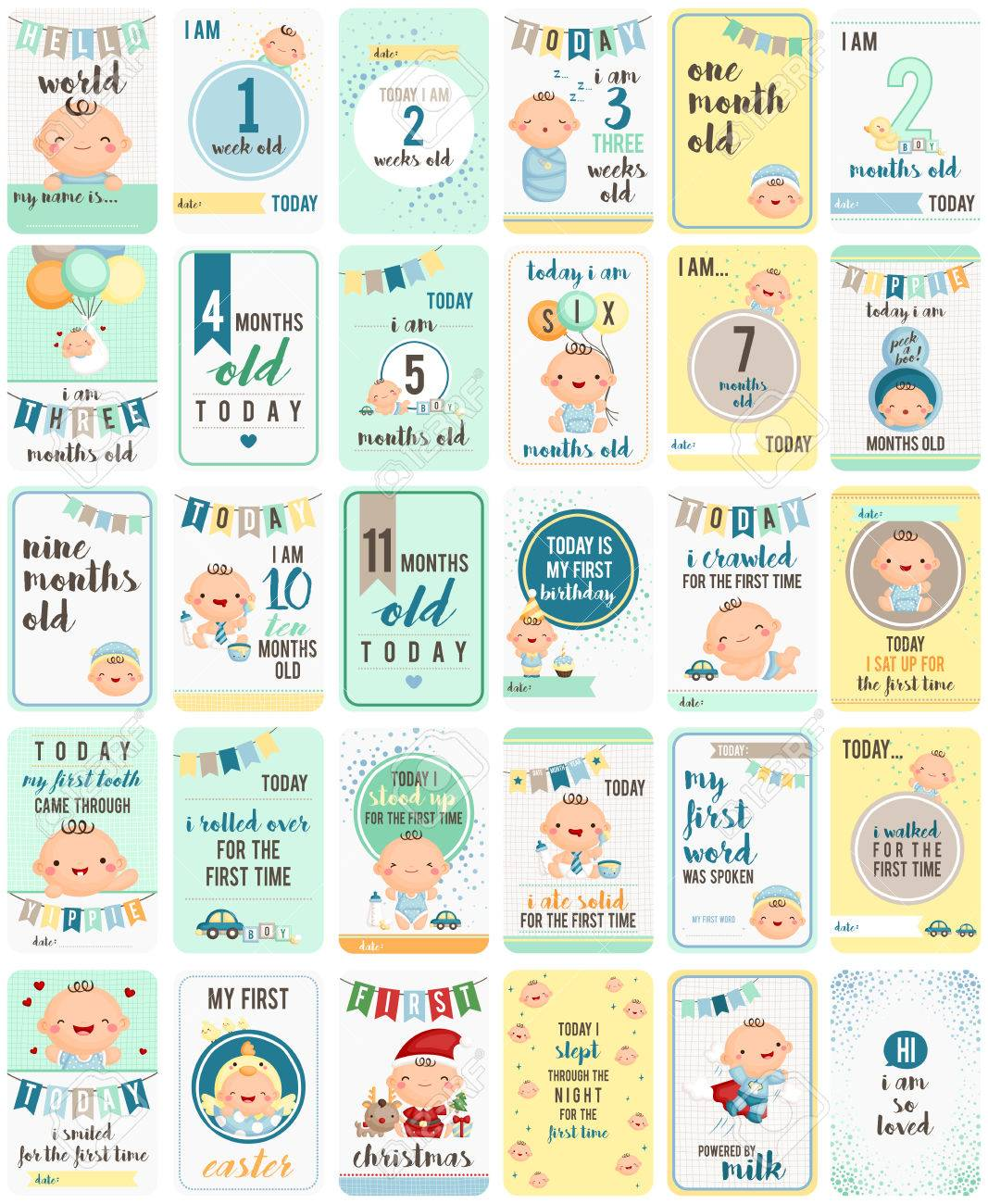 Baby Boy Milestone Cards - 54922297