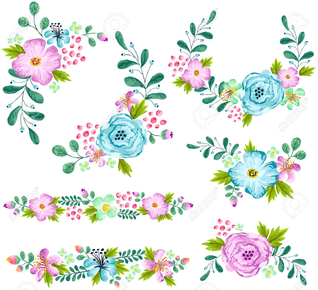 Blue and Turquoise Spring Flower Watercolor Set - 57125510